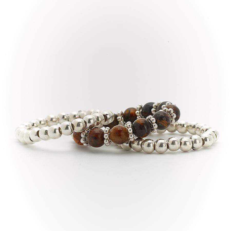 bagues trio élastiques pierres œil de tigre perle de jade