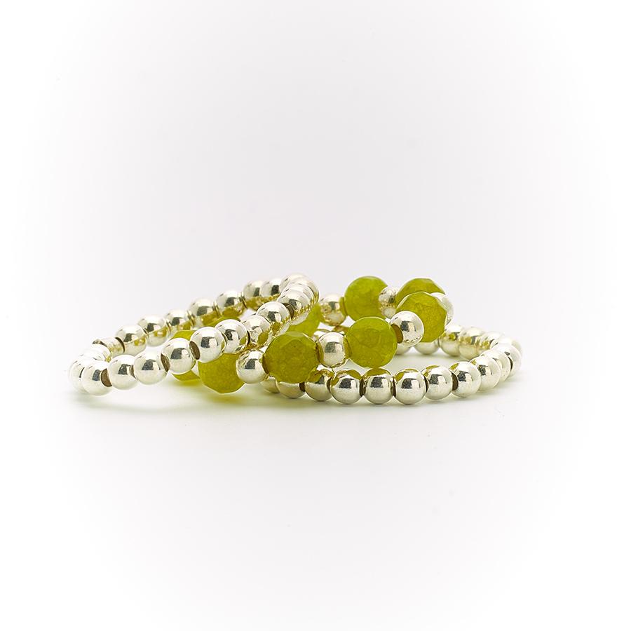 bague élastique perles de quartz vert perle de jade