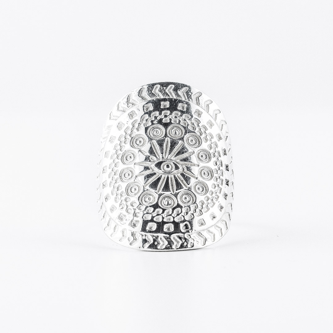 """""""Aztec Eye"""" solid silver ring"""