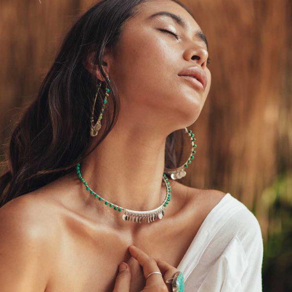 boucle d oreilles indian vibes pierres de malachite et argent
