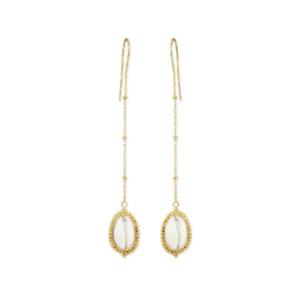 boucles d'oreilles coquillages vermeil plaque or perle de jade