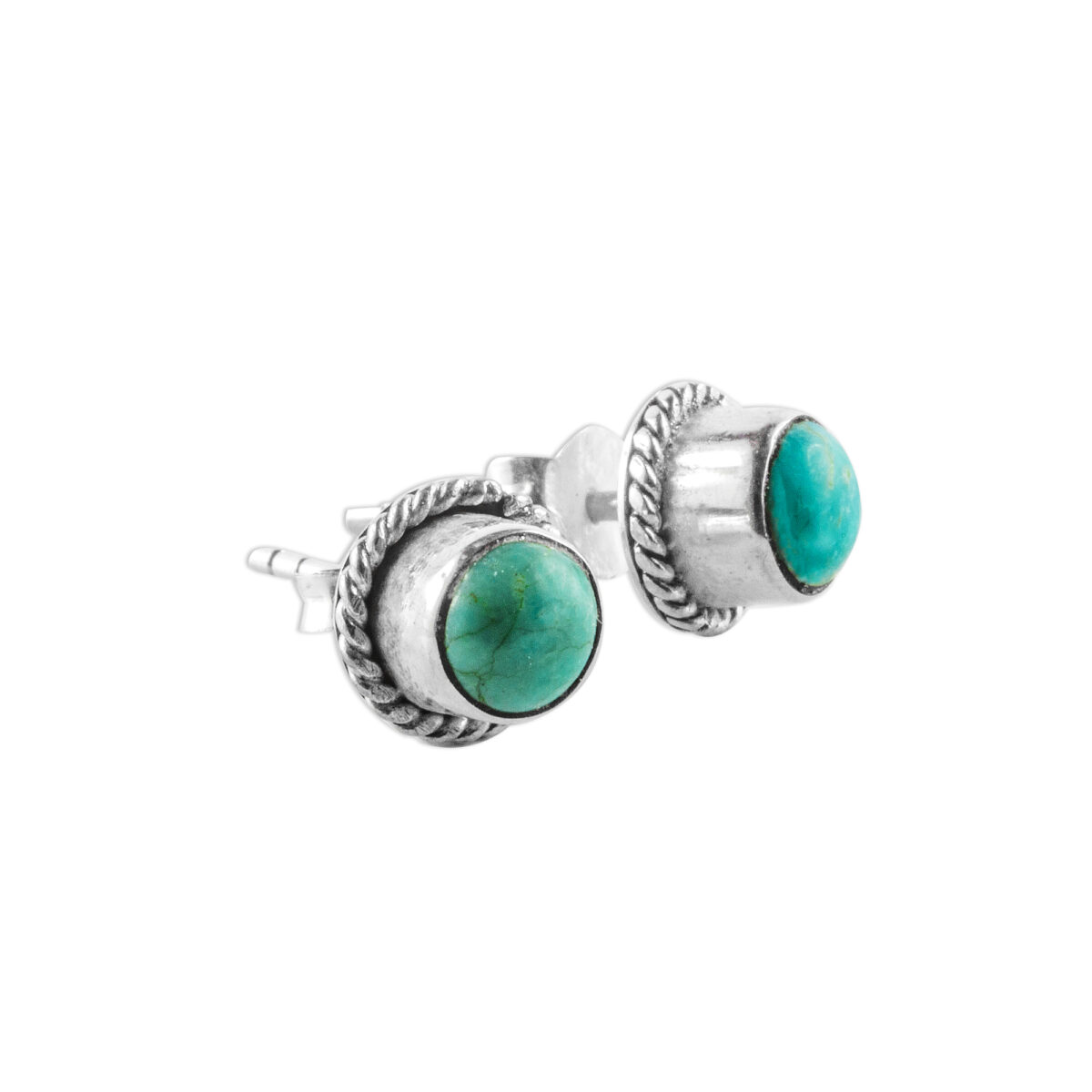 boucles d'oreilles turquoise argent perle de jade