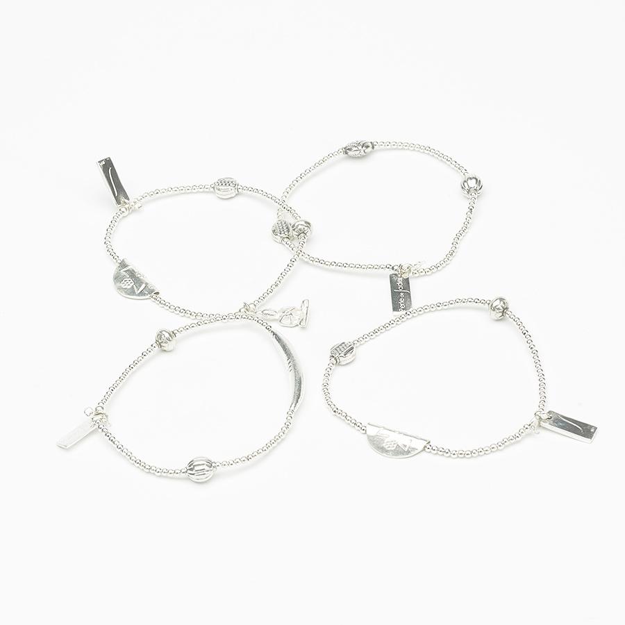 Bracelets élastiques en argent massif (par 4)
