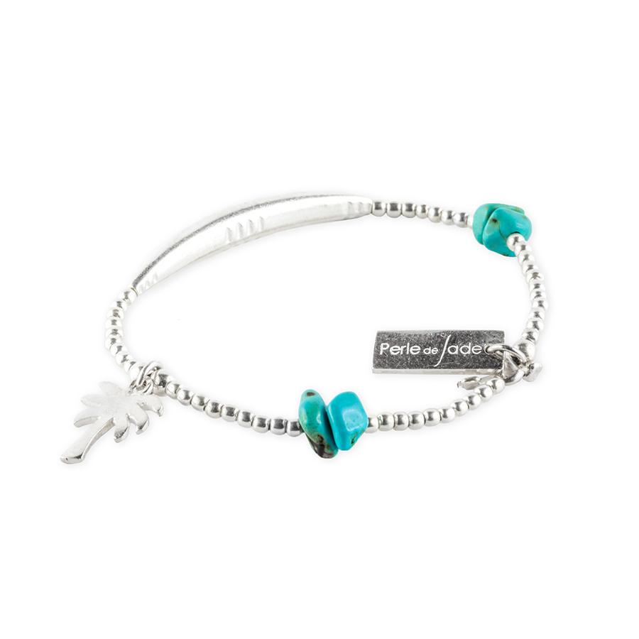 bracelet elastique enfant argent palm tree perle de jade