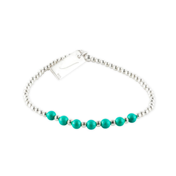 bracelet elastique pierre de turquoise perle de jade
