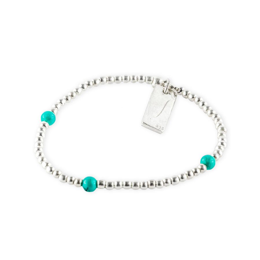 bracelet elastique trio pierres de turquoise perle de jade