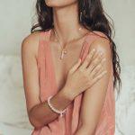 bracelet good karma pierre de quartz rose et argent