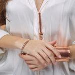 """Bracelet jonc """"Goldie"""" en argent massif et cuivre non fermé"""