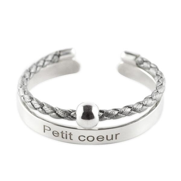 bracelet jonc enfant argent massif grave petit coeur gris retouche