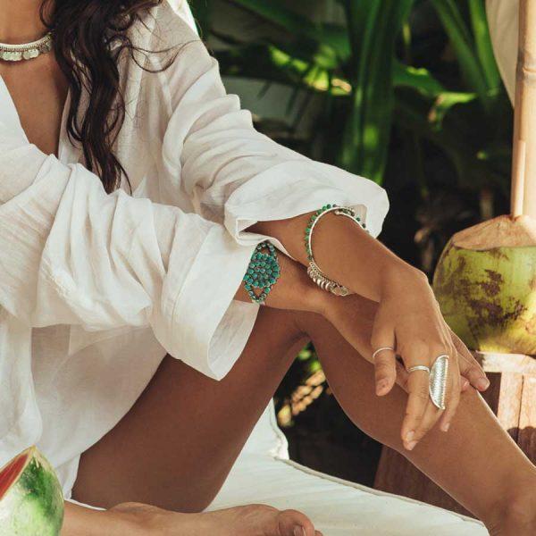 bracelet pierres de malachite et argent indian vibes