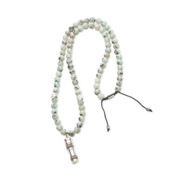 collier bouddhiste pierre amazonite perle de jade