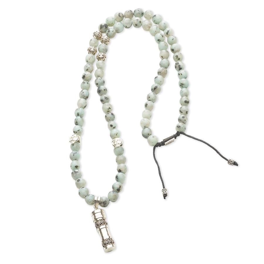 collier-bouddhiste-pierre-amazonite-secret-box-argent-perle-de-jade-artisanal