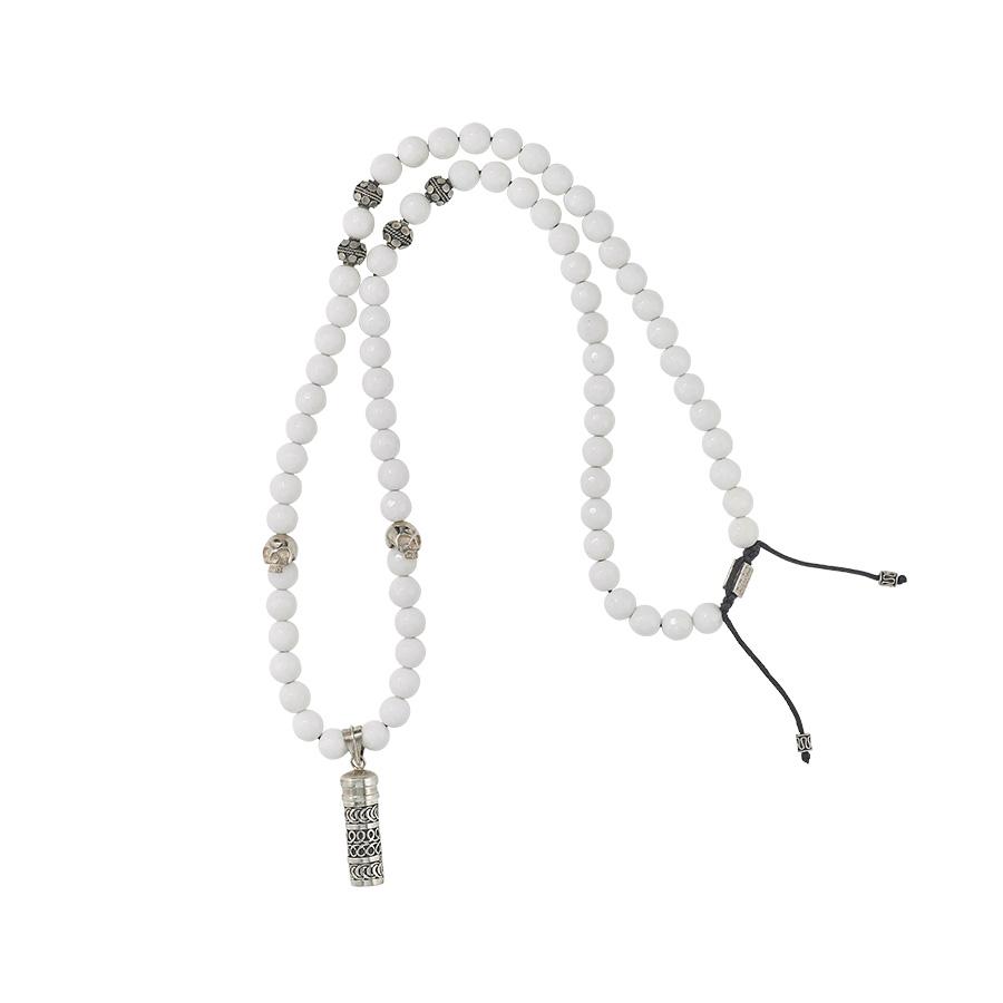 collier bouddhiste quartz blanc perle de jade