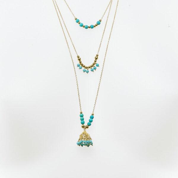 collier breloque plaqué or et turquoise perle de jade