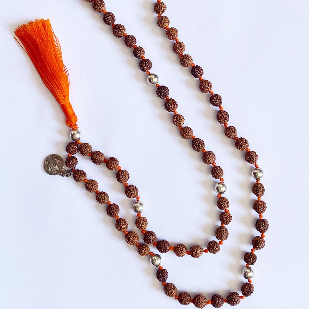 "Collier Mâlâ de méditation ""Madhura"" orange"