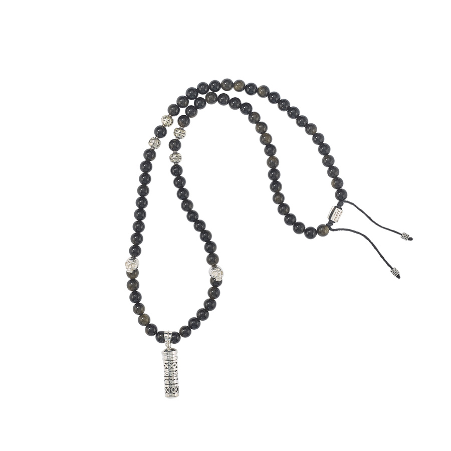 Collier bouddhiste pierres d'obsidienne et Secret Box en argent massif