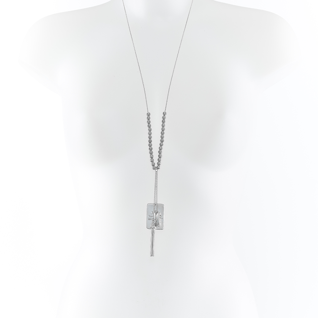 « Take the best » Military-style tube necklace in silver
