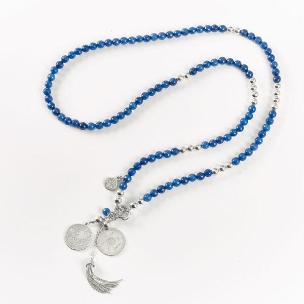 """Collier long """"Good Karma"""" en argent massif et quartz bleu foncé"""