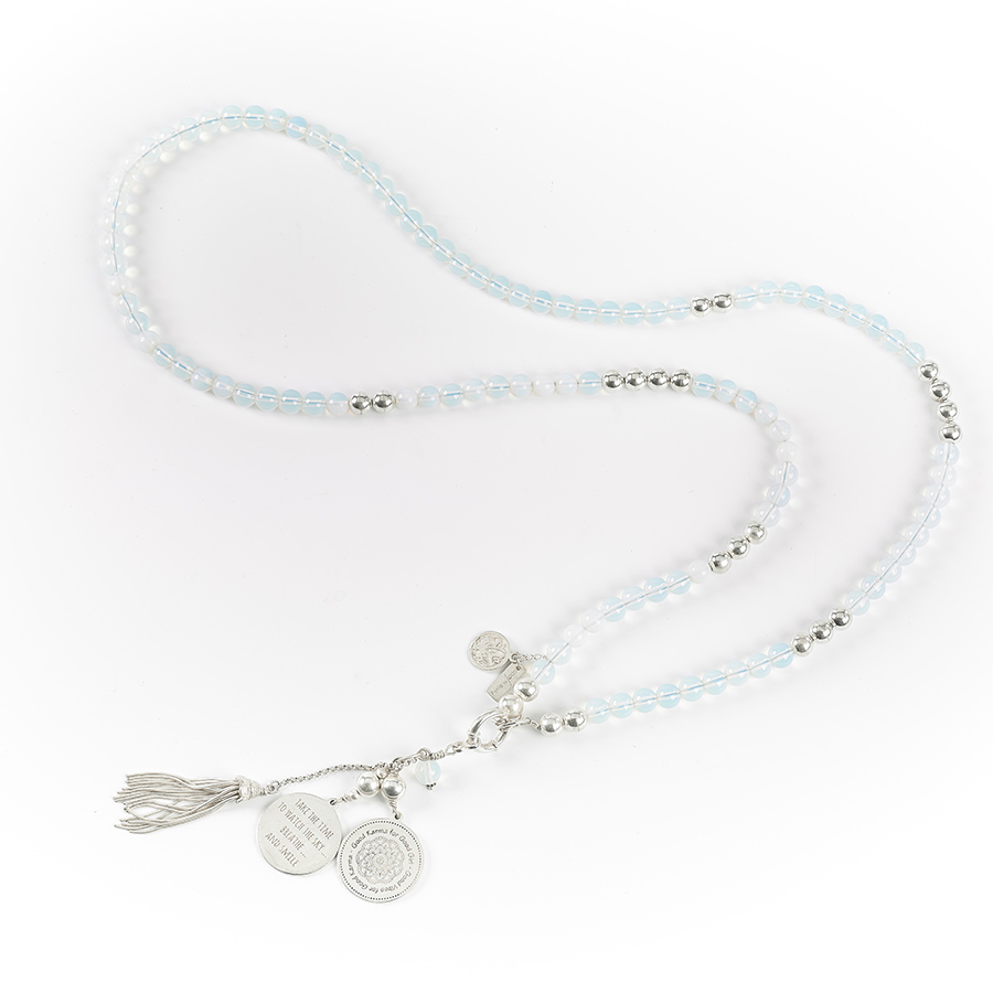 "Collier long ""Good Karma"" en argent massif et opaline"
