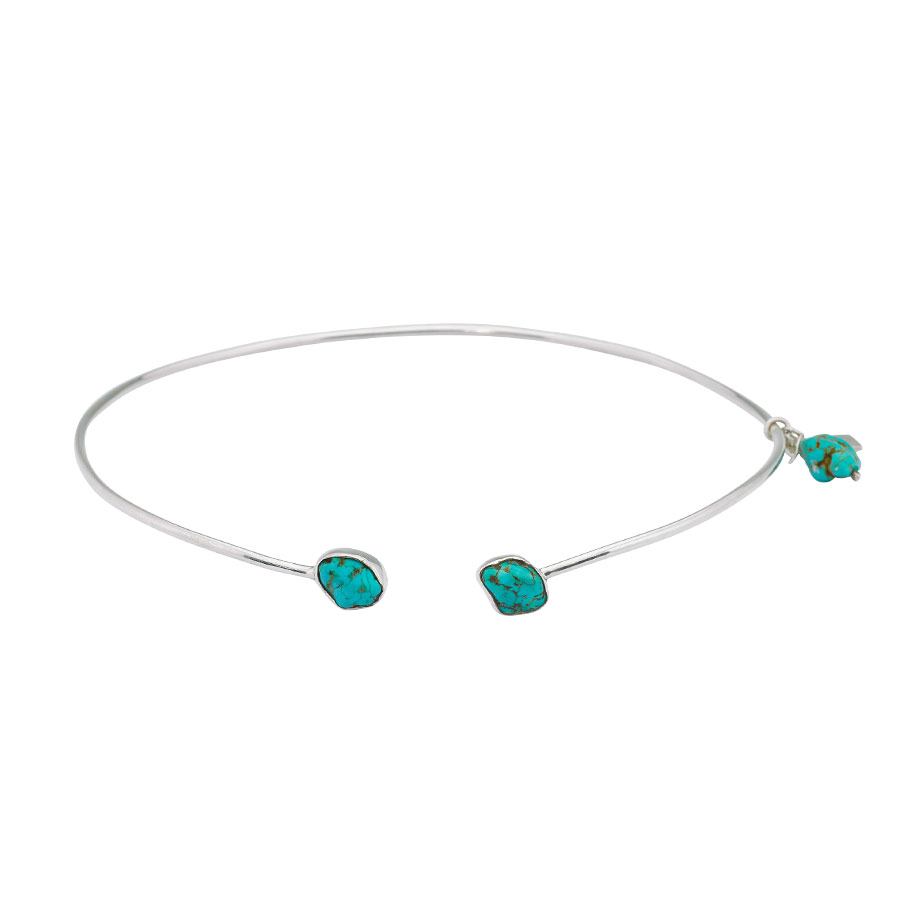 collier ras de cou pierres de turquoise perle de jade
