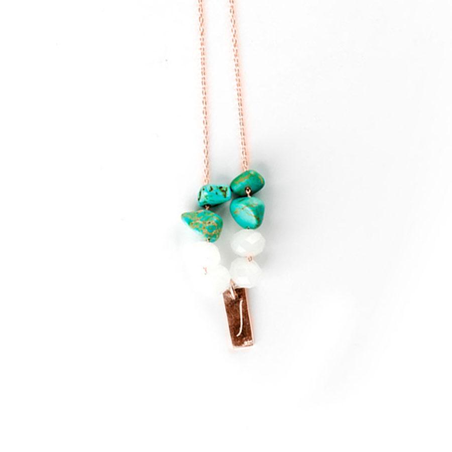 collier plaqué or rose turquoise quartz blanc perle de jade