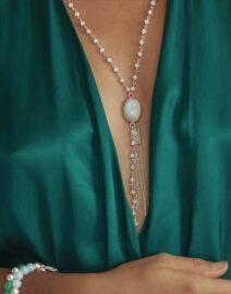 collier wish petites pierres quartz blanc et argent