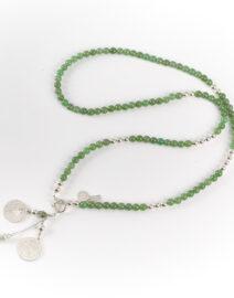 """Collier long """"Good Karma"""" en argent massif et jade"""