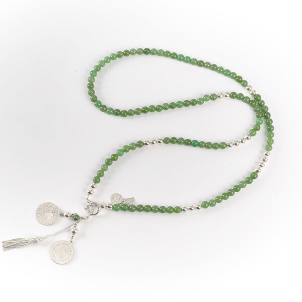 "Collier long ""Good Karma"" en argent massif et jade"