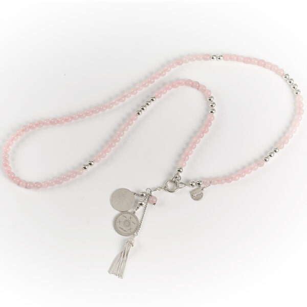 "Collier long ""Good Karma"" en argent massif et quartz rose"