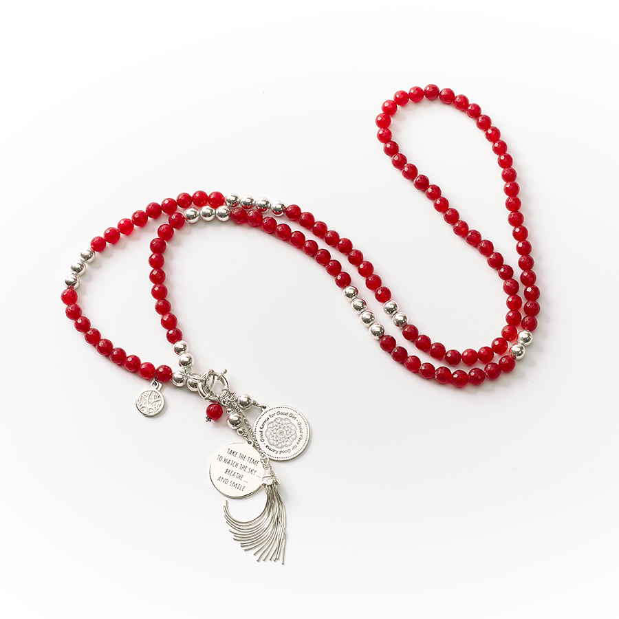 "Collier quartz rouge argent long ""Good Karma"" en argent massif et quartz rouge"