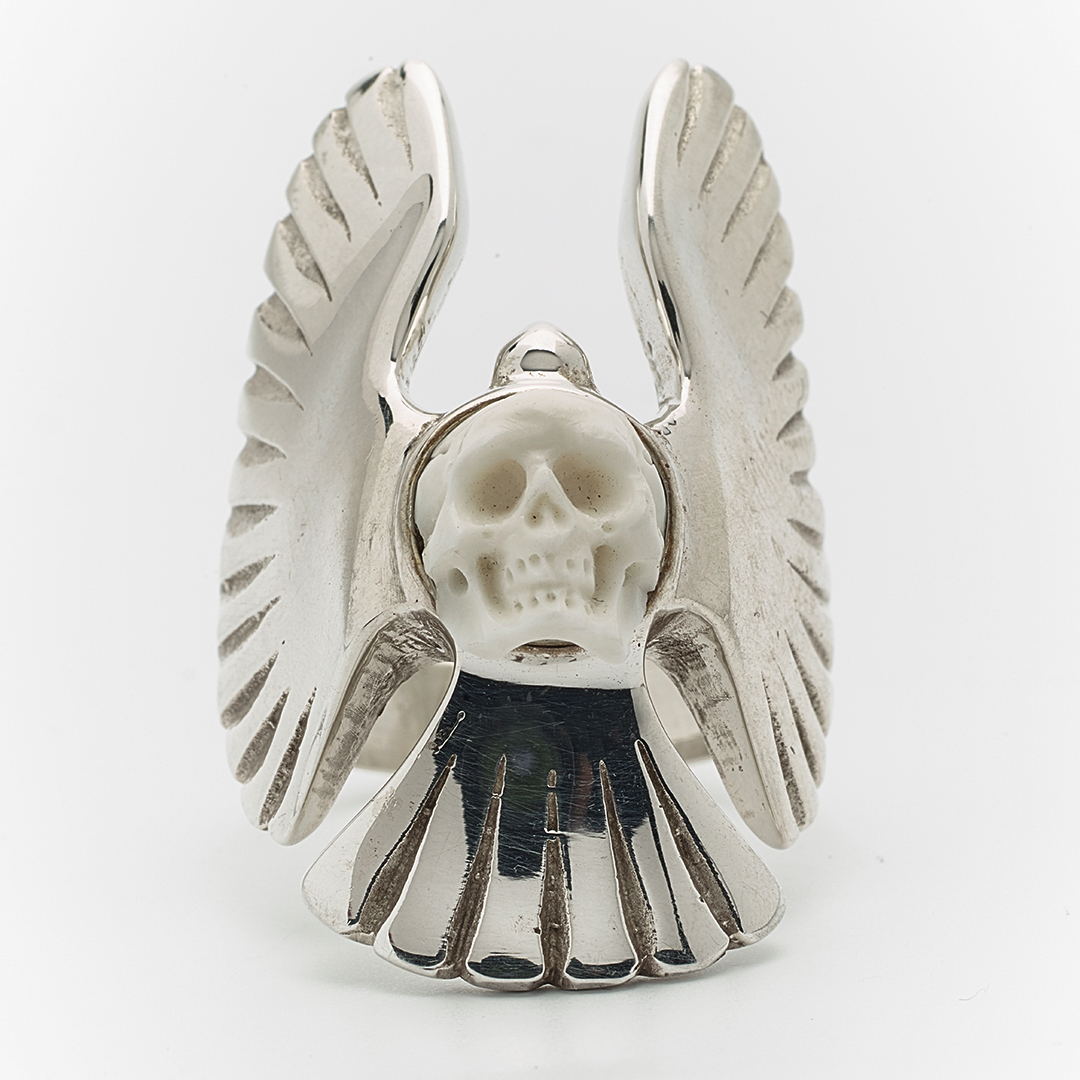 """Angel"" skull & cross bones ring in silver"