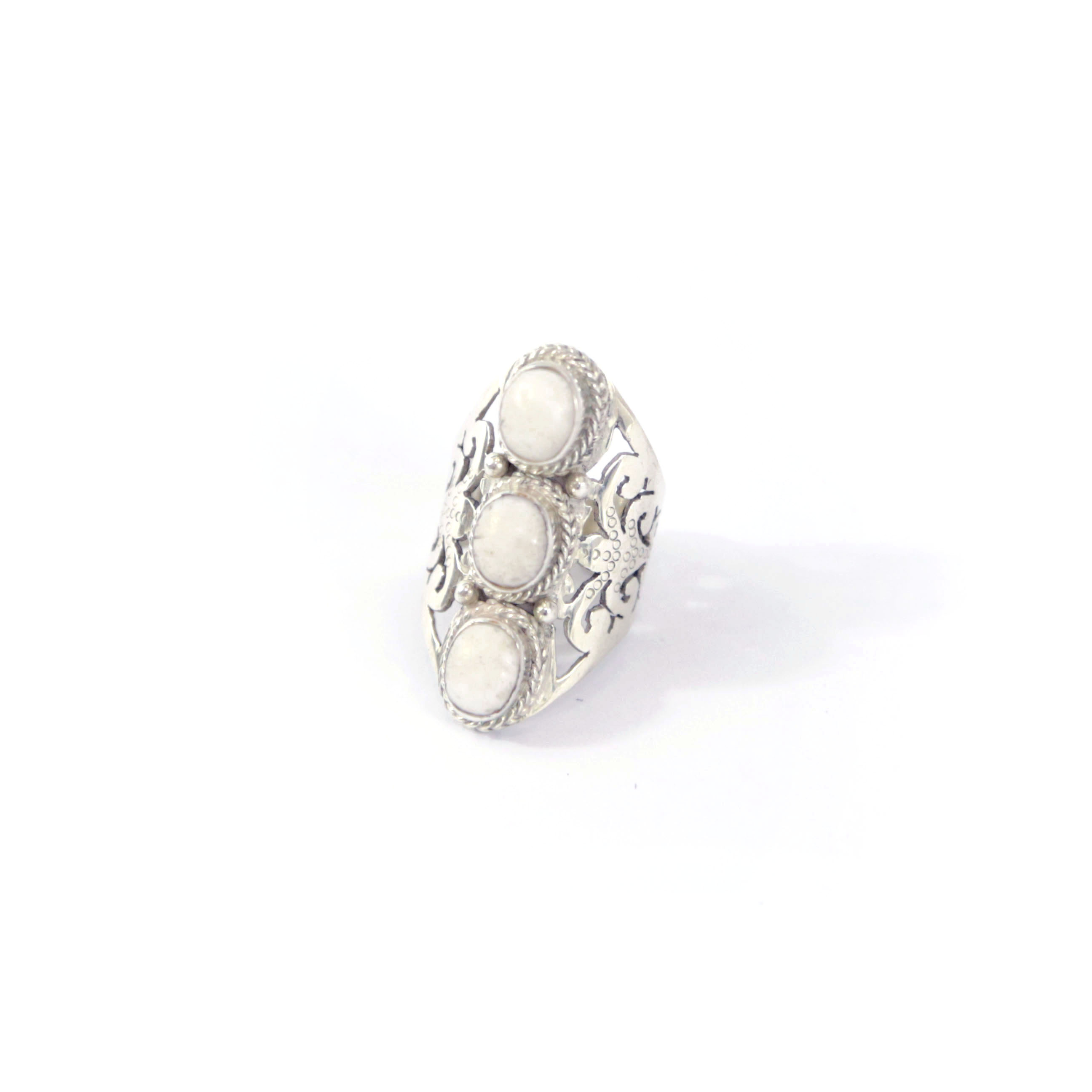 """Eivissa"" silver & white quartz ring"
