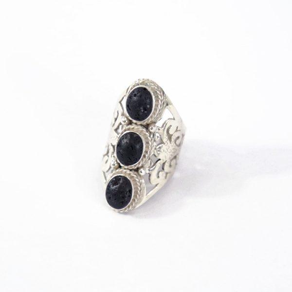 """Bague """"Eivissa"""" en argent massif (925) et pierre de lave noire Perle de Jade"""
