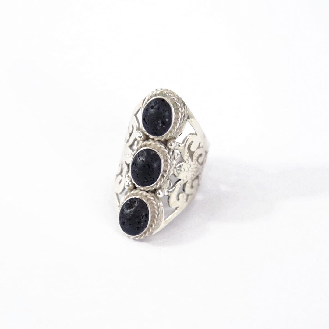 """Eivissa"" silver & black lava stone ring"