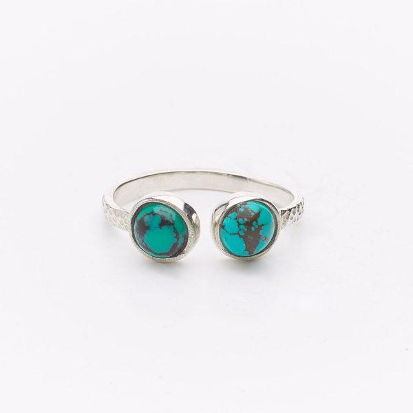 Bague Perle de Jade en argent massif (925) et duo de pierres de turquoise
