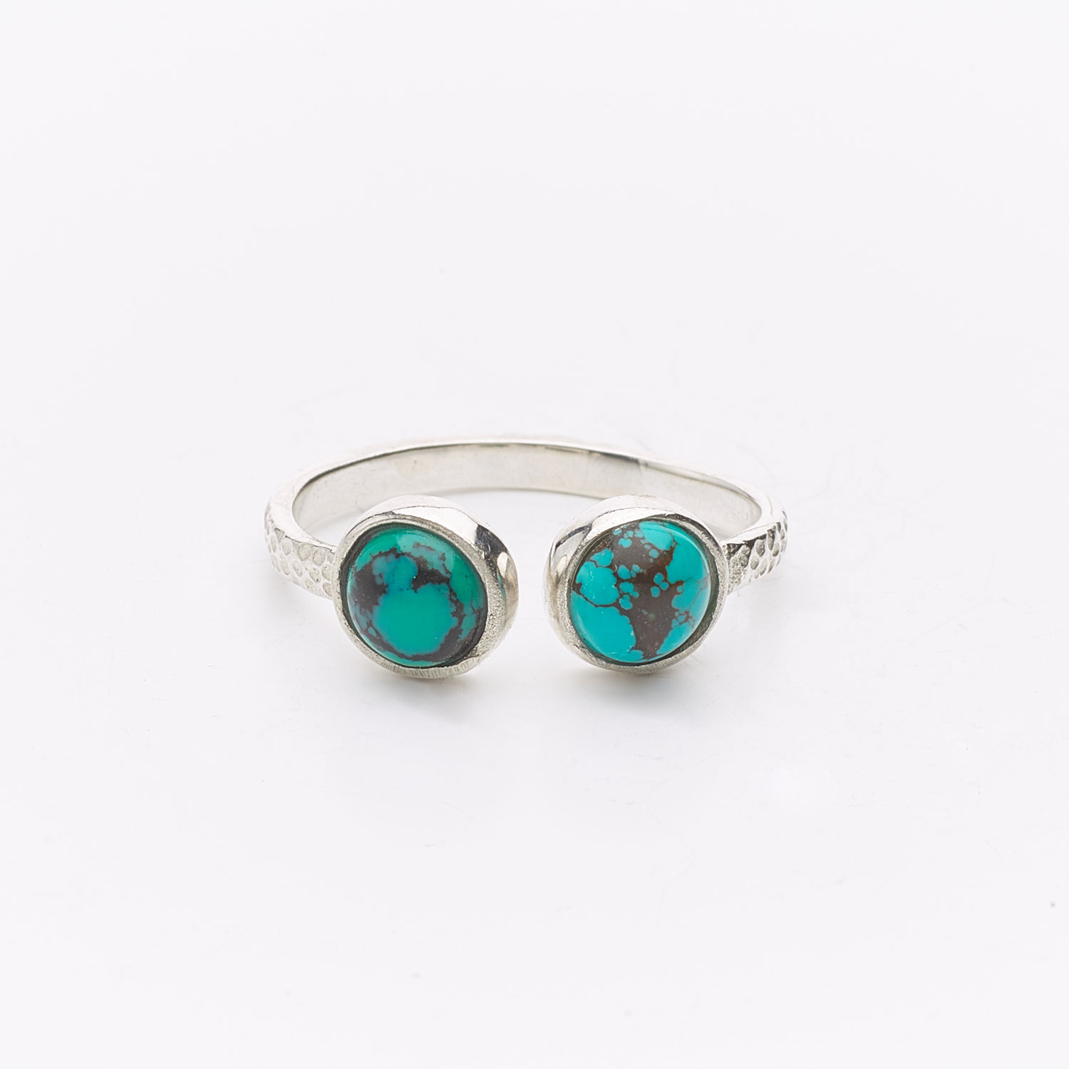 Fine silver ring with two Turquoise gemstones