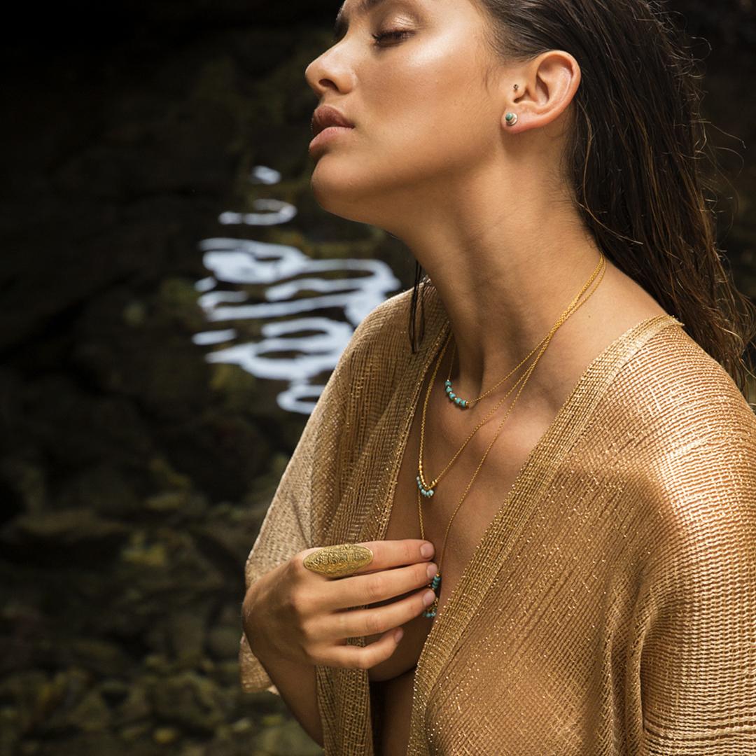 """Bague à motifs """"Aztec"""" en vermeil Perle de Jade"""