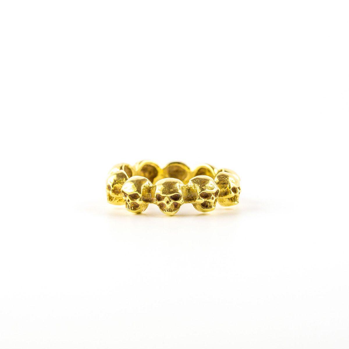 Bague mixte tête de mort bronze Perle de Jade