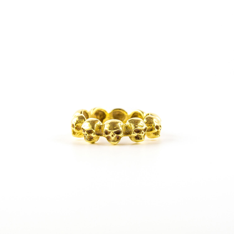 bague têtes de mort bronze perle de jade
