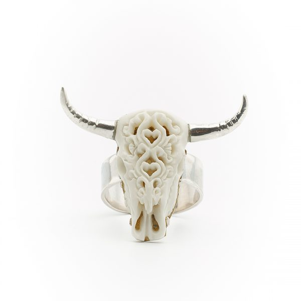 Perle de Jade bague buffalo head
