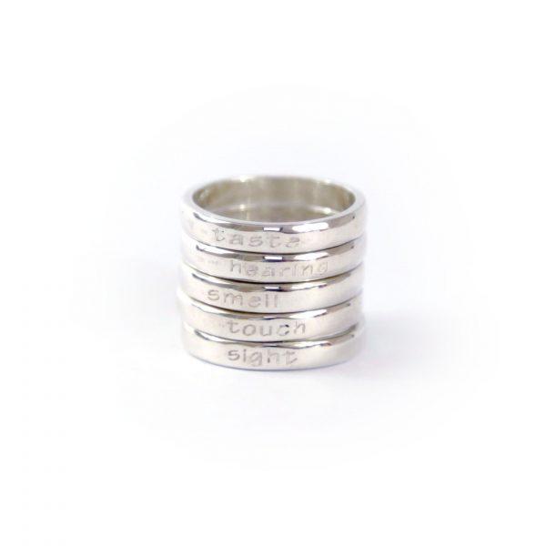 Perle de Jade bague femme des cinq sens en argent massif (925)