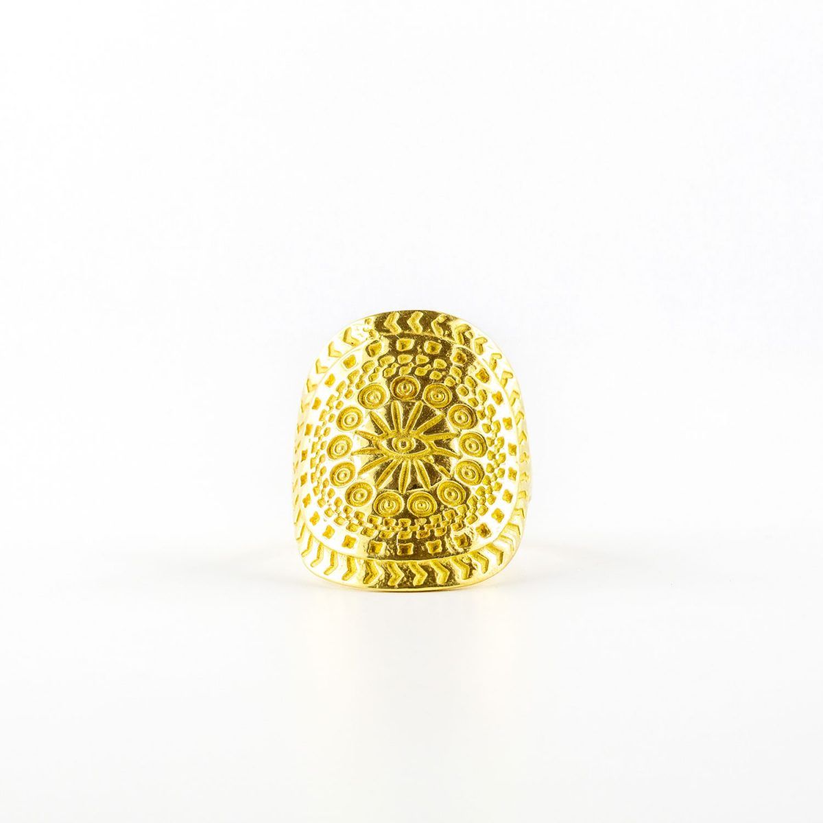 """Aztec eye"" 18 carat Vermeil ring"