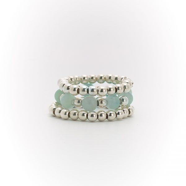 Bagues trio argent massif (925) et pierres quartz bleu Perle de Jade