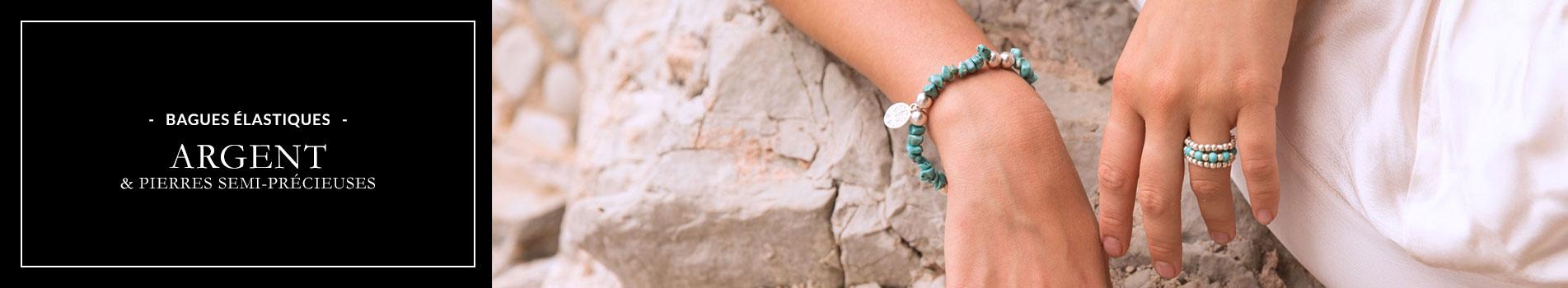 Perle de Jade Bagues élastiques argent et pierres