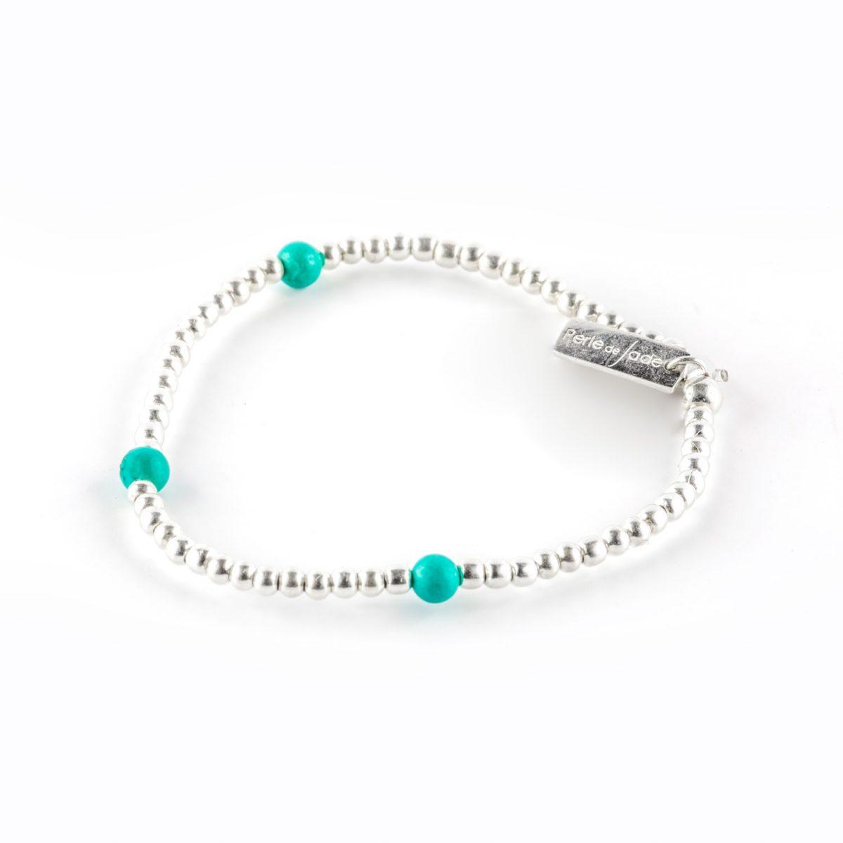 Bracelet élastique argent massif 925 et pierres de turquoise perle de jade