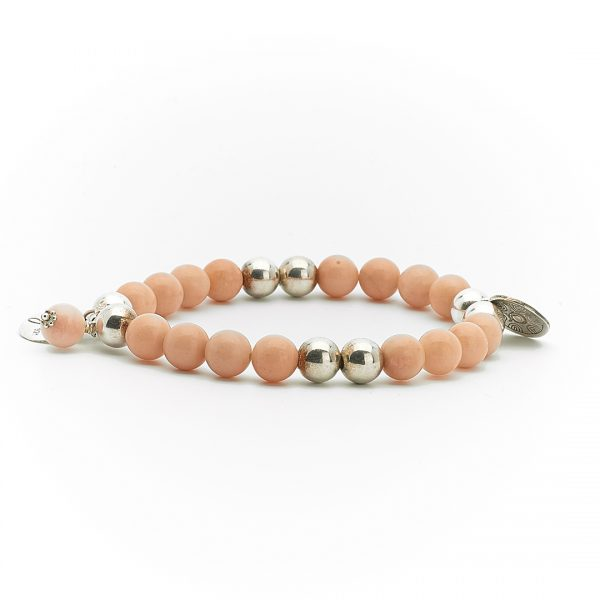 """Bracelet """"Good Karma"""" pierre de soleil et argent massif Perle de Jade"""
