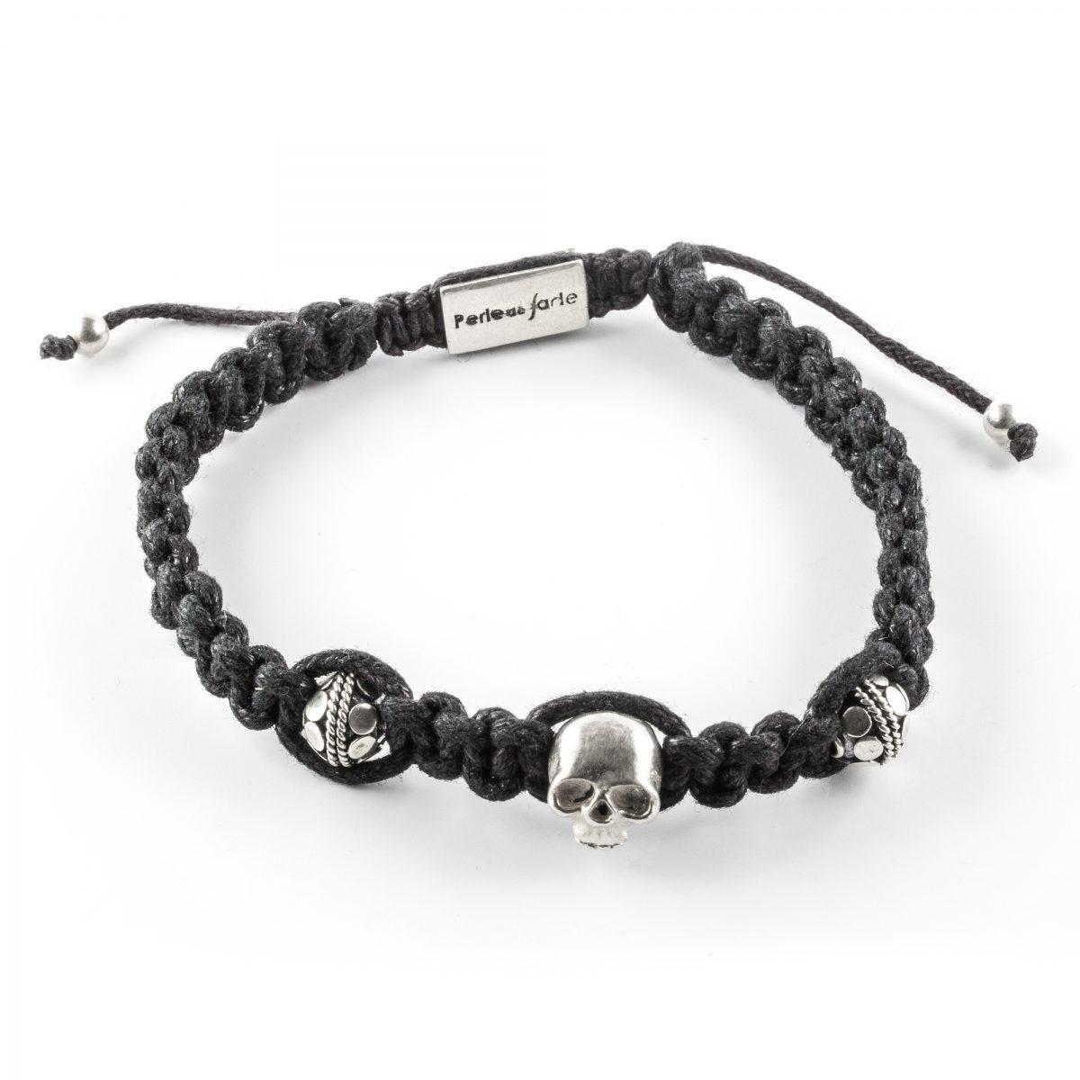 bracelet macramé tête de mort homme perle de jade