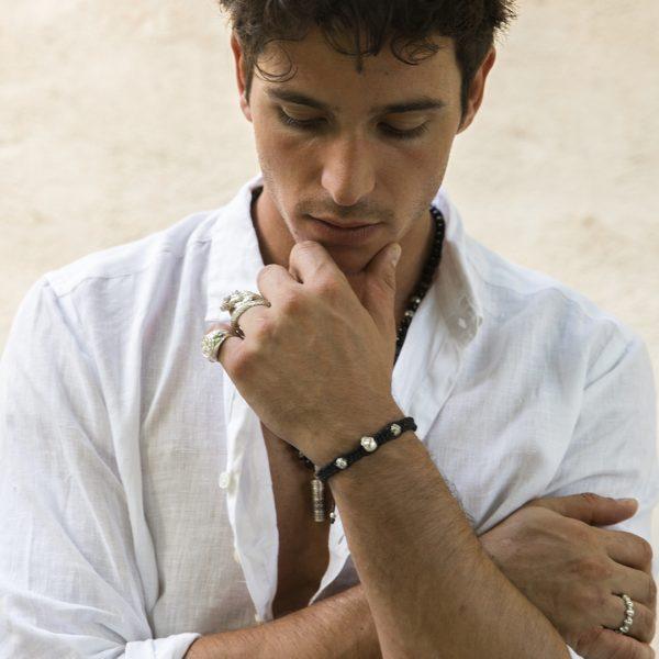 Bracelet en macramé à motif tête de mort et perles d'argent (925) Perle de Jade