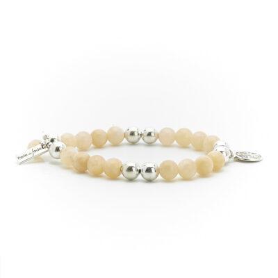 "Bracelet ""Good Karma"" perles de jaspe jaune et argent massif 925 Perle de Jade"