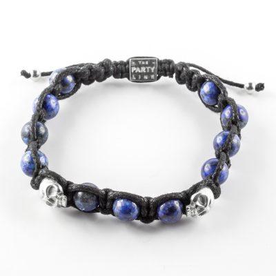 Bracelet en argent massif (925) et perles de lapis bleue Perle de Jade